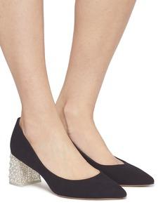 Sophia Webster 'Amber' embellished heel suede pumps