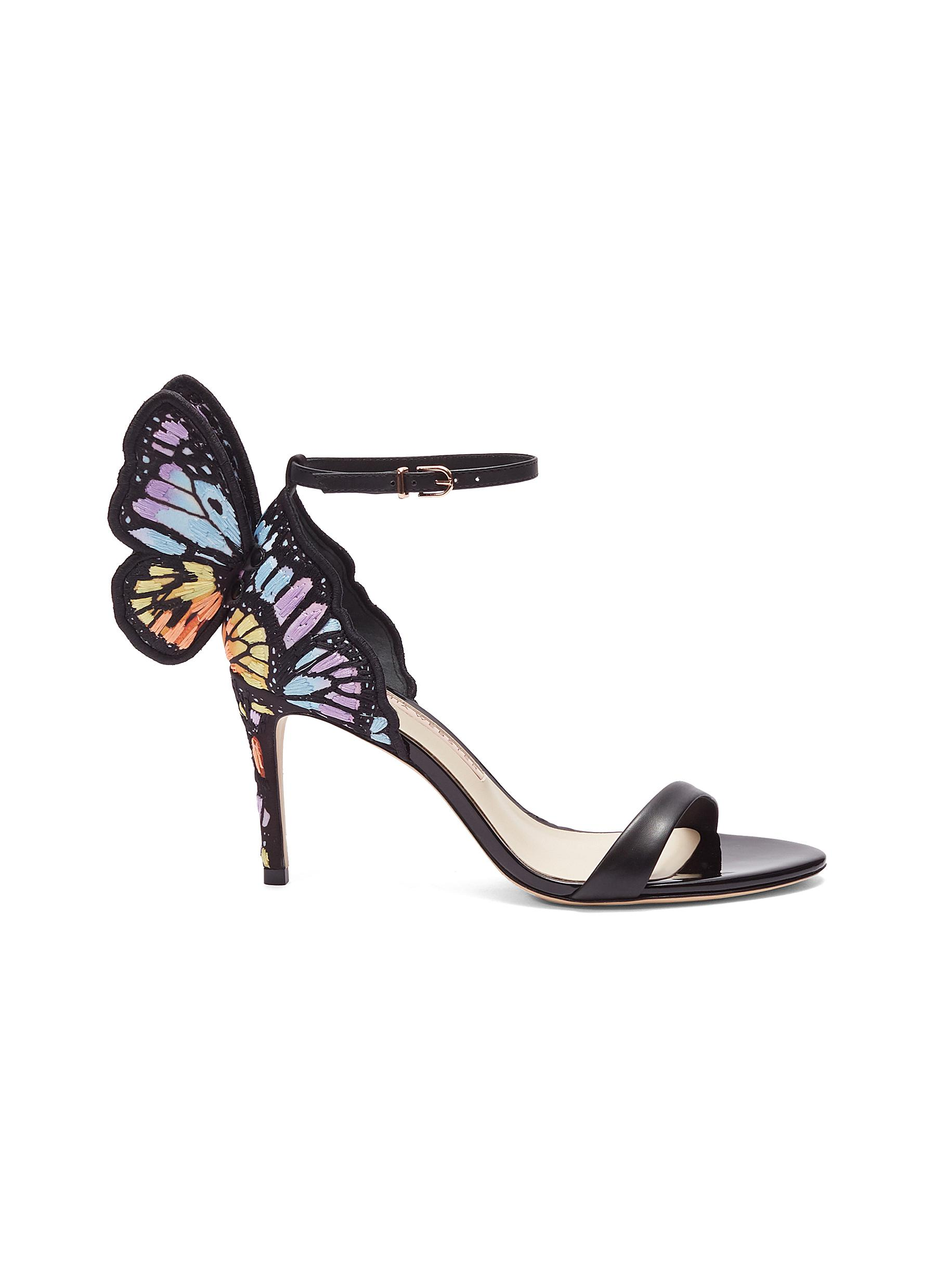 Chiara embroidered butterfly appliqué leather sandals by Sophia Webster
