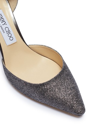 Detail View - Click To Enlarge - JIMMY CHOO - 'Esther 85' coarse glitter d'Orsay pumps