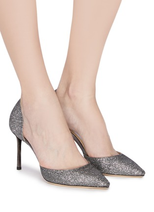 Figure View - Click To Enlarge - JIMMY CHOO - 'Esther 85' coarse glitter d'Orsay pumps