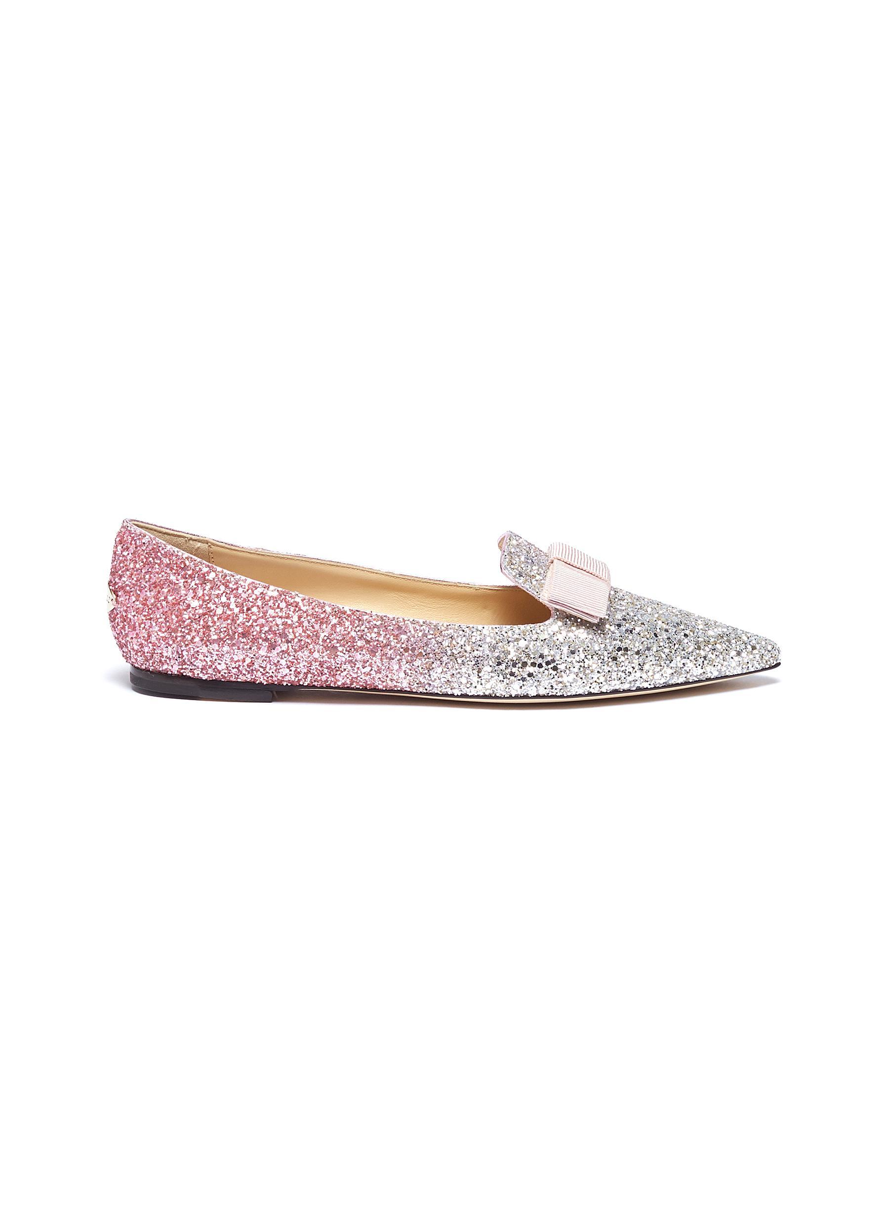 Gala bow dégradé coarse glitter loafers by Jimmy Choo