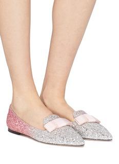 Jimmy Choo 'Gala' bow dégradé coarse glitter loafers