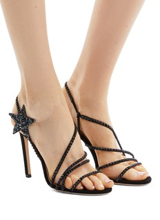 Jimmy Choo 'Lynn 100' glass crystal strappy suede sandals