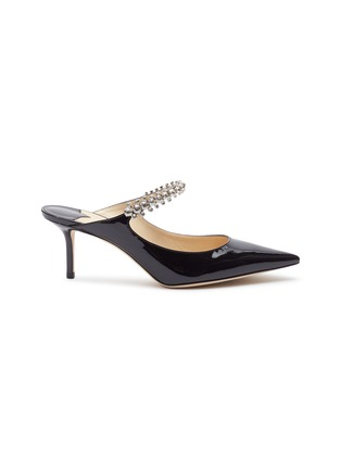 Main View - Click To Enlarge - JIMMY CHOO - 'Bing 65' glass crystal strap patent leather mules
