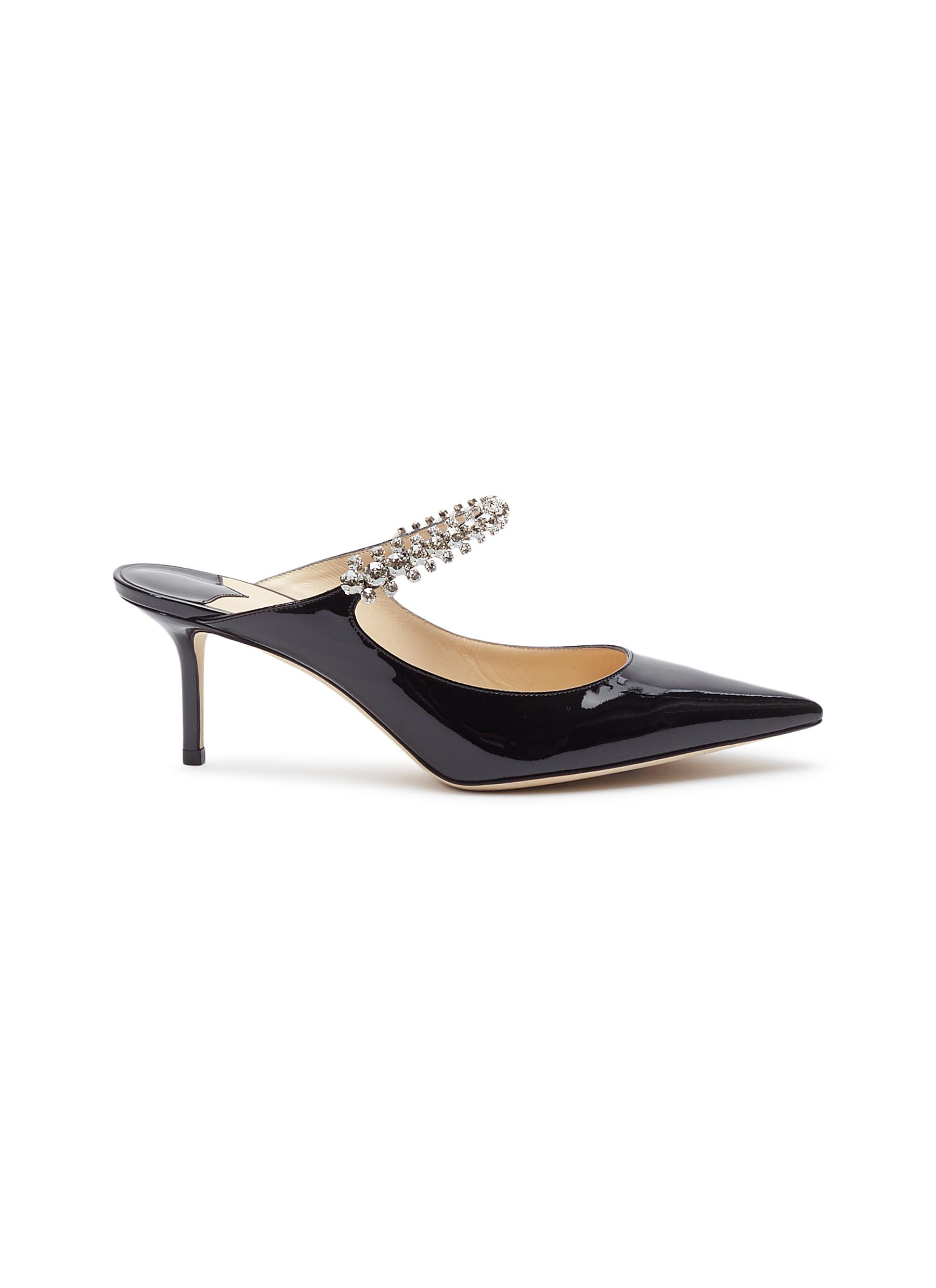 Bing 65 glass crystal strap patent leather mules by Jimmy Choo