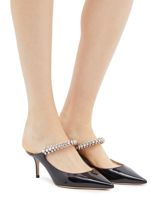 Figure View - Click To Enlarge - JIMMY CHOO - 'Bing 65' glass crystal strap patent leather mules