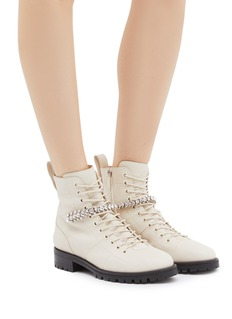Jimmy Choo 'Cruz' glass crystal strap leather combat boots