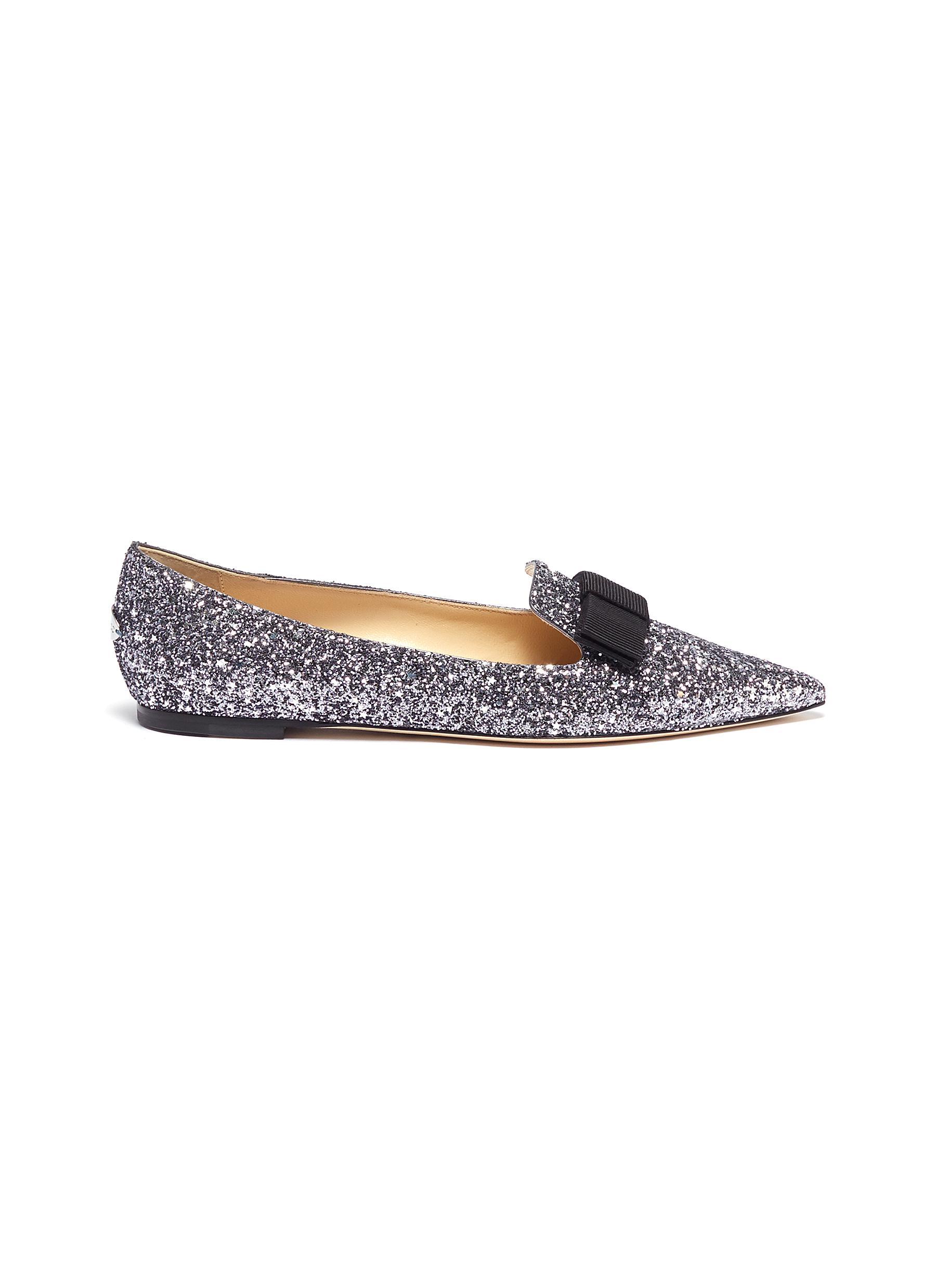 Gala bow coarse glitter loafers by Jimmy Choo