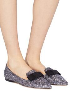 Jimmy Choo 'Gala' bow coarse glitter loafers