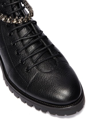 Detail View - Click To Enlarge - JIMMY CHOO - 'Cruz' glass crystal strap leather combat boots
