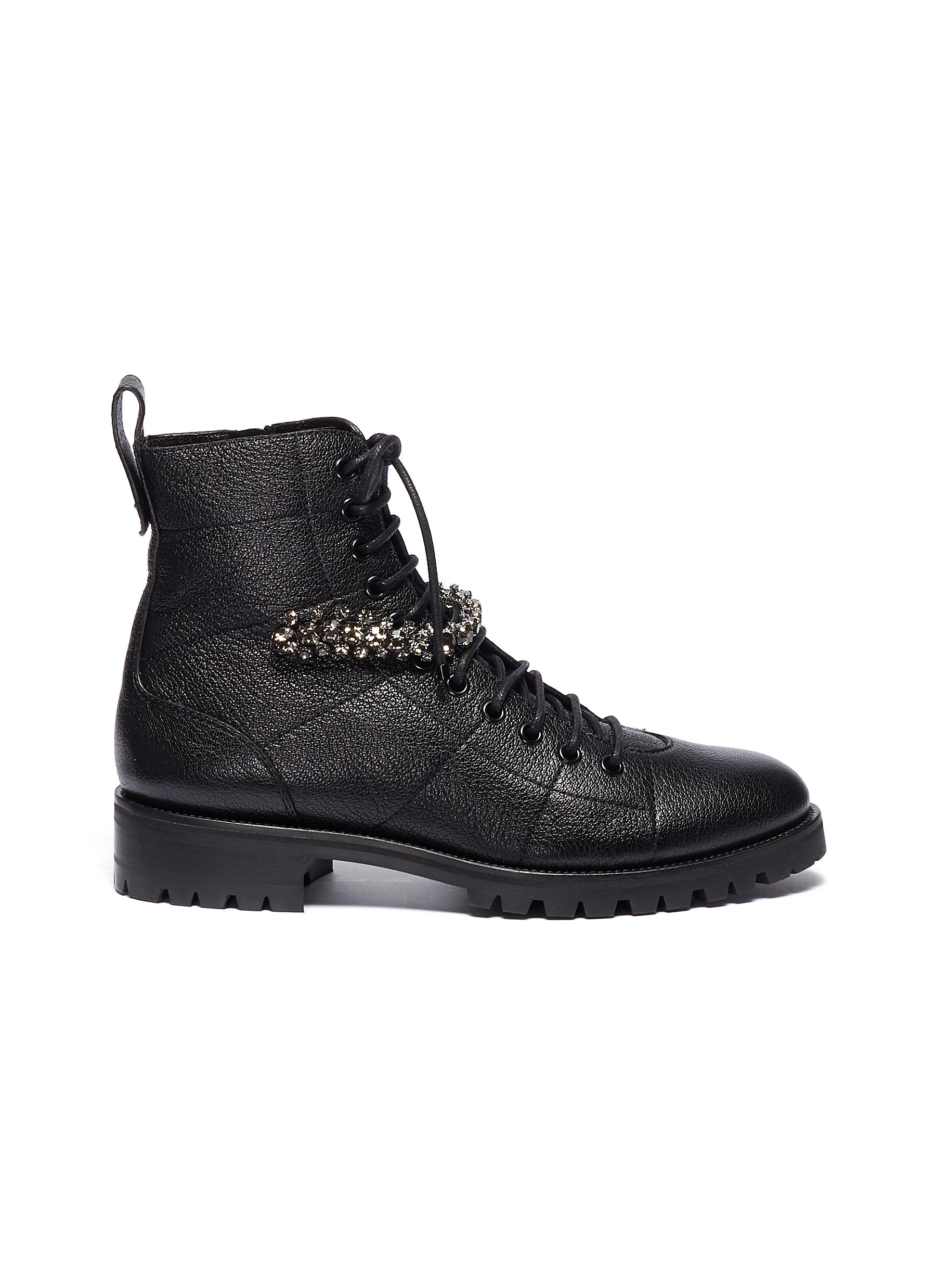 Jimmy Choo Boots Cruz glass crystal strap leather combat boots