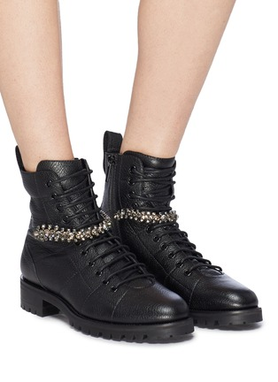 Figure View - Click To Enlarge - JIMMY CHOO - 'Cruz' glass crystal strap leather combat boots