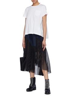 Sacai Contrast pleated mesh back T-shirt