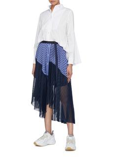 Sacai Pleated mesh back bib shirt