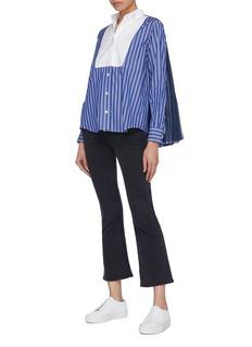 Sacai Pleated mesh back stripe bib shirt