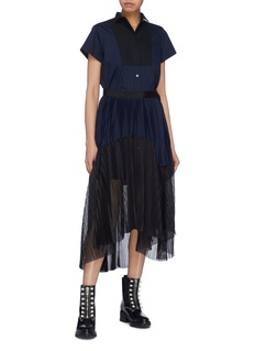Sacai Colourblock pleated mesh panel belted poplin shirt dress