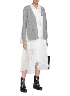 Sacai Pleated mesh panel belted poplin shirt dress