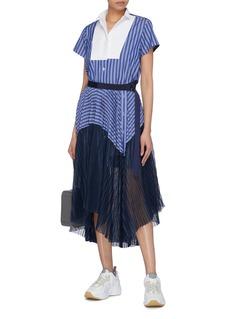 Sacai Colourblock pleated mesh panel belted stripe shirt dress