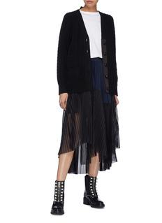 Sacai Colourblock mesh panel pleated belted poplin skirt