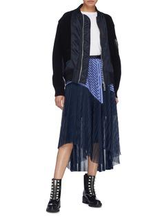 Sacai Colourblock mesh panel pleated belted stripe poplin skirt