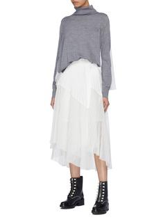 Sacai Mesh panel pleated belted poplin skirt