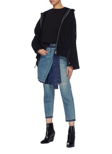 Sacai Contrast colourblock back zip hoodie
