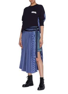 Sacai Asymmetric stripe pleated overlay wrap denim skirt