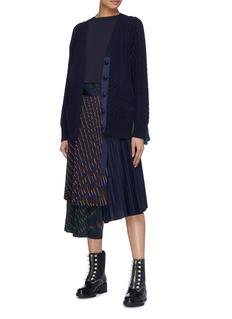 Sacai Colourblock contrast back wool cable knit cardigan