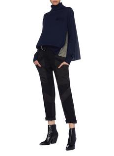 Sacai Contrast pleated mesh back wool turtleneck sweater