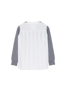 Sacai Pleated mesh back wool kids sweater