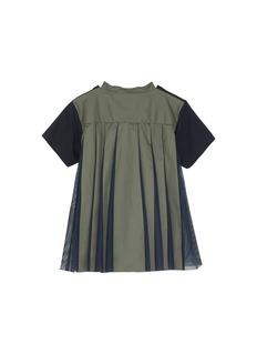 Sacai Pleated mesh poplin back kids T-shirt