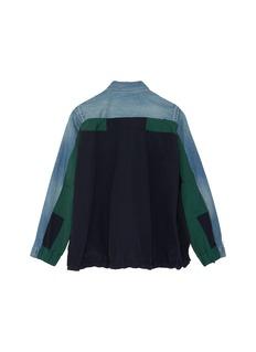 Sacai Colourblock back patchwork kids denim jacket