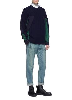Sacai Shirt collar poplin back T-shirt