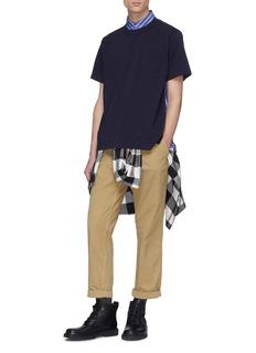 Sacai Shirt collar poplin back panel T-shirt