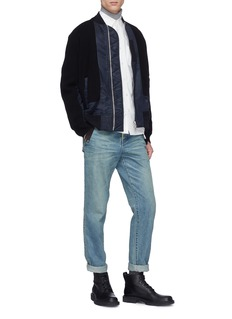 Sacai Drawstring outseam panelled shirt