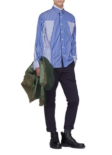 Sacai Drawstring outseam panelled stripe shirt