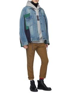 Sacai Colourblock bomber panel denim jacket