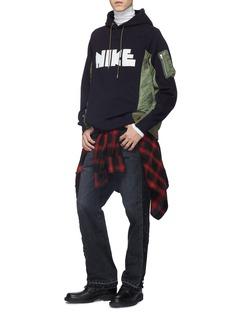 Sacai x Nike logo print bomber panel hoodie
