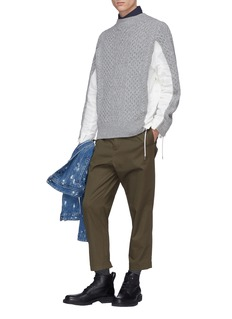 Sacai Zip poplin outseam patchwork wool sweater