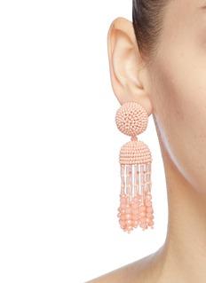 Oscar de la Renta Bead tassel drop clip earrings