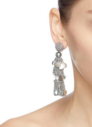 Figure View - Click To Enlarge - OSCAR DE LA RENTA - Beaded sequin tier drop earrings