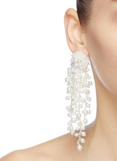 Oscar de la Renta Pearl cluster drop clip earrings
