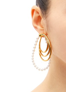 Oscar de la Renta Faux pearl multi hoop earrings