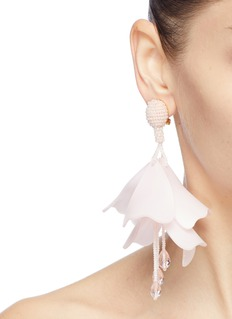 Oscar de la Renta 'Large Impatiens' petal glass crystal drop clip earrings