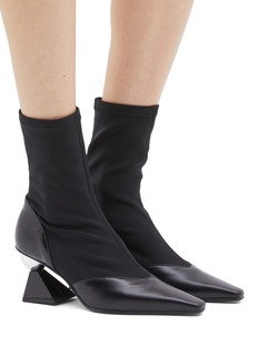 Yuul Yie Geometric heel sock panel leather ankle boots