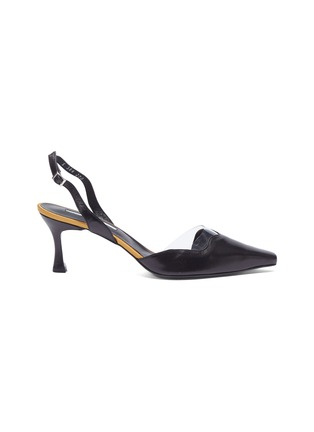 Main View - Click To Enlarge - Yuul Yie - 'Lissom' PVC panel wavy leather slingback pumps