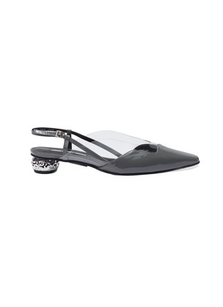 Main View - Click To Enlarge - YUUL YIE - 'Dewy' PVC panel wavy leather slingback pumps