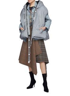 KHRISJOY Slogan drawstring hooded sleeveless down puffer jacket