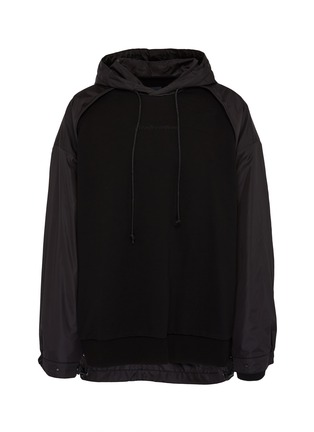 Main View - Click To Enlarge - JUUN.J - Contrast panel slogan embroidered hoodie