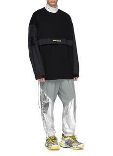 Juun.J Contrast panel zip outseam sweatshirt